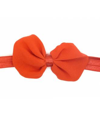 Headband noeud organza rouge zoom