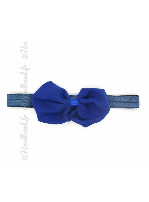 Headband noeud organza bleu