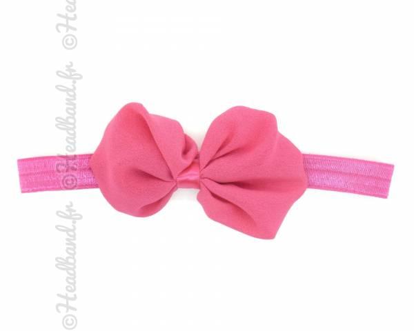 Headband noeud organza fushia