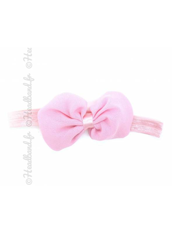 Headband noeud organza rose