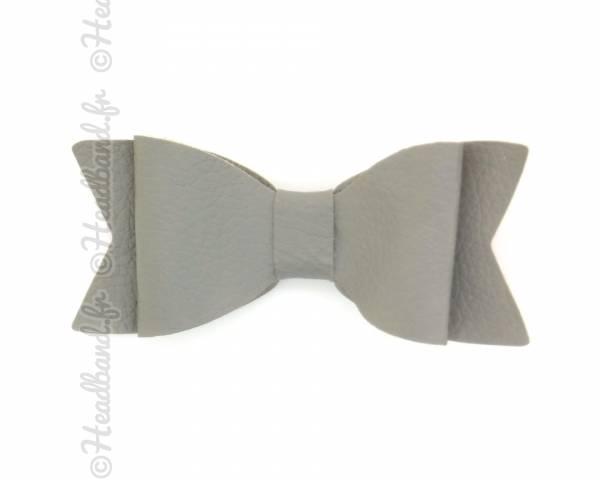 Barrette noeud cuir gris