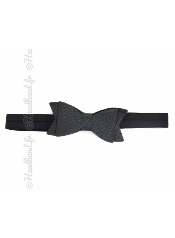 Headband noeud cuir noir