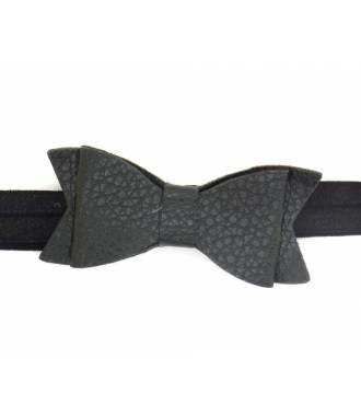 Headband noeud cuir noir zoom