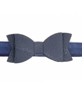 Headband noeud cuir bleu zoom