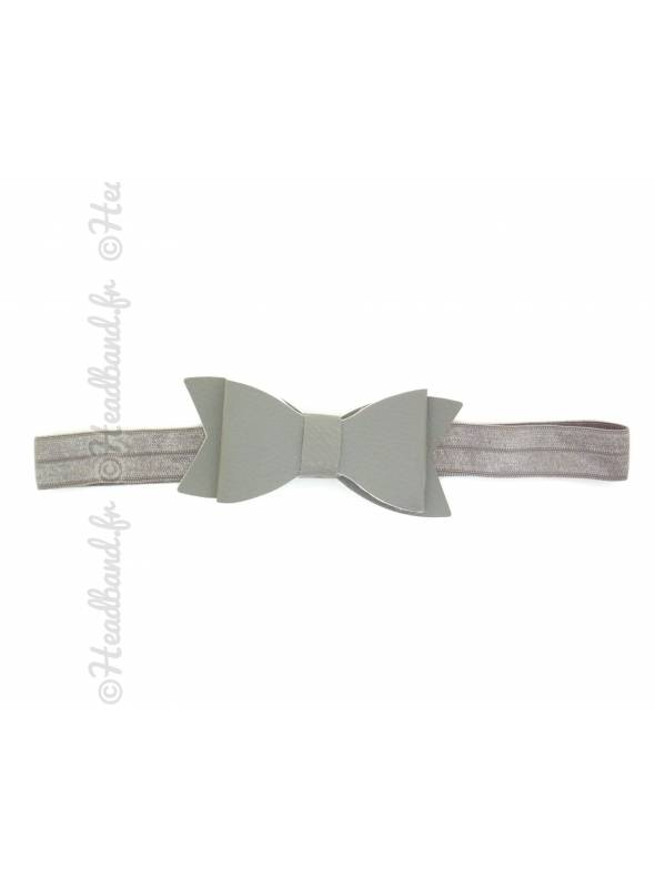 Headband noeud cuir gris
