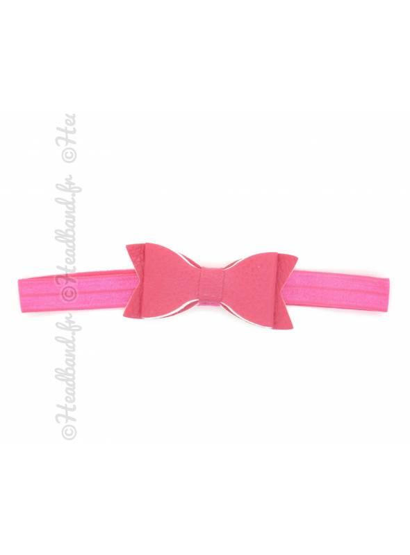 Headband noeud cuir fushia