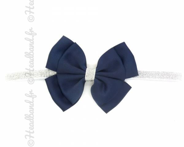 Bandeau paillettes noeud bleu