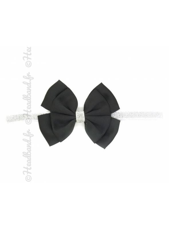 Bandeau paillettes noeud noir