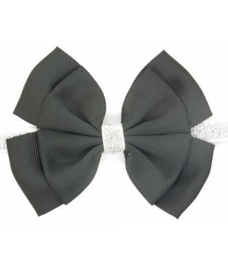 Bandeau paillettes noeud noir zoom
