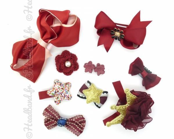 Pack de 10 barrettes fille rouge