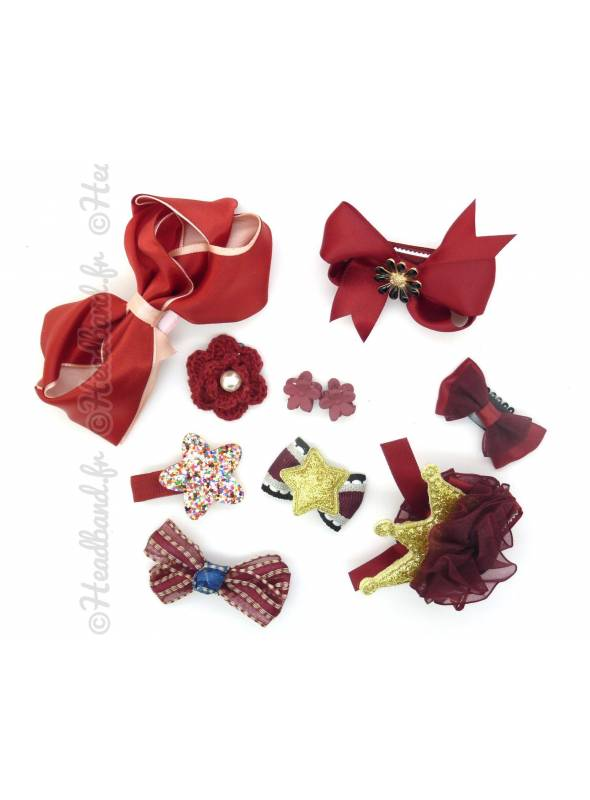 Lot de barrettes fille rouge