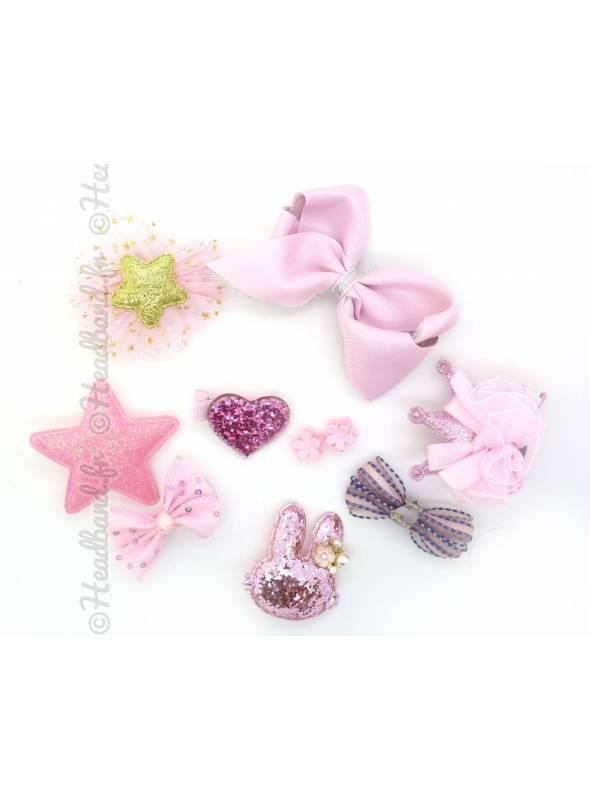 Lot de barrettes fille rose