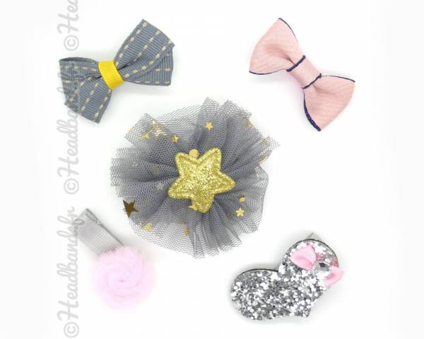 Lot de barrettes tulle gris