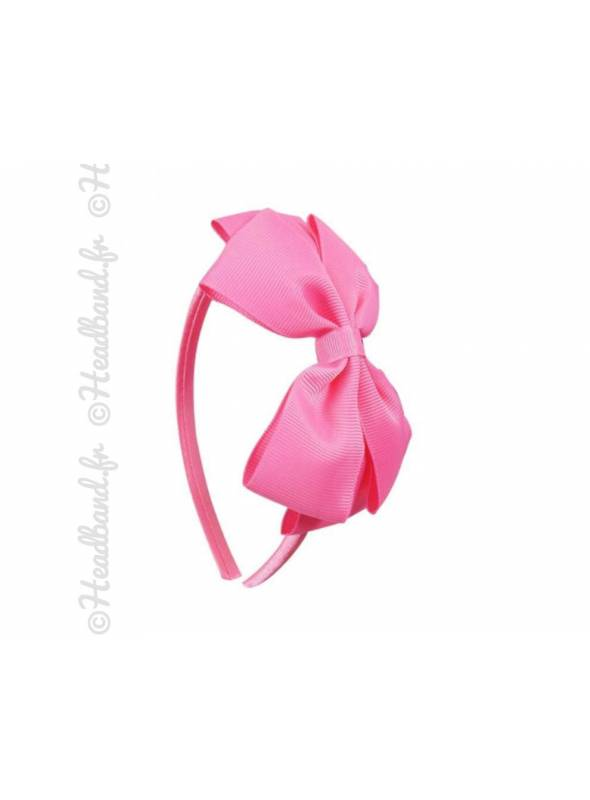 Serre-tête noeud fille rose