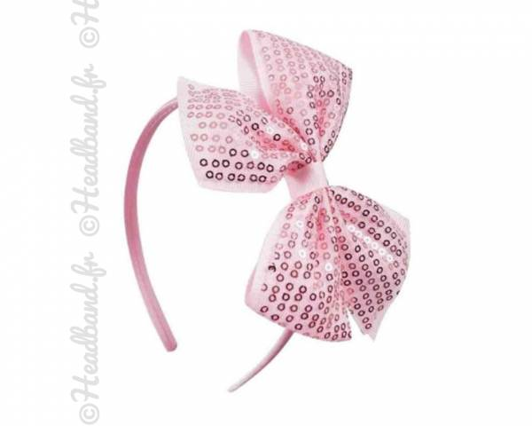 Serre-tête sequins rose clair