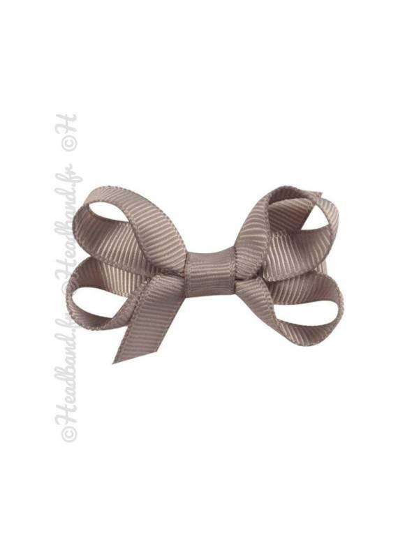 Barrette nœud ruban gris