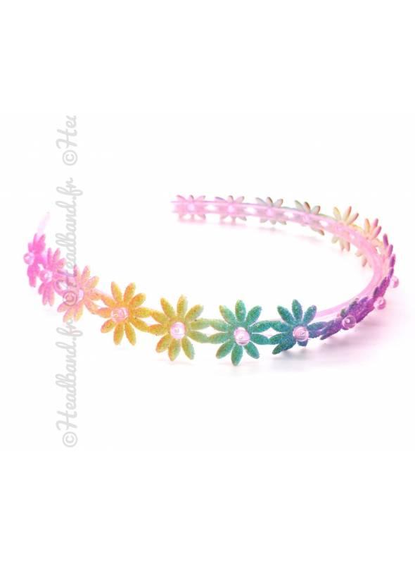 Serre-tête fleur arc-en-ciel