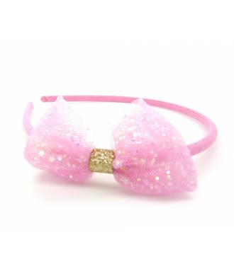 Serre-tête noeud paillettes rose