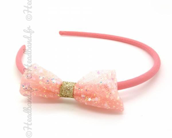 Serre-tête noeud paillettes corail
