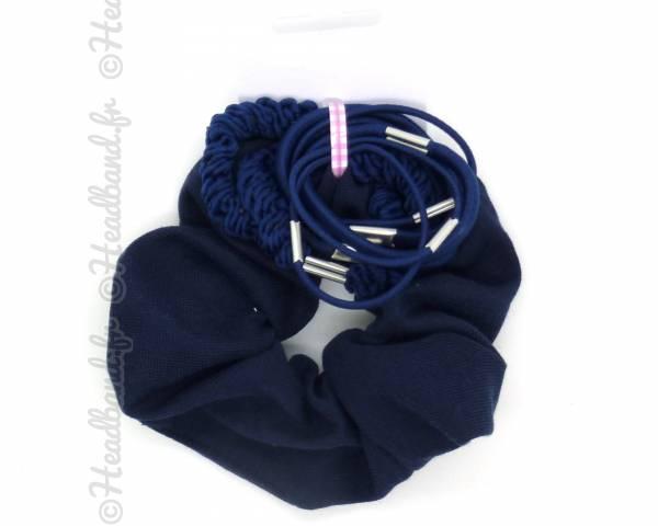 Set chouchou et élastiques bleu
