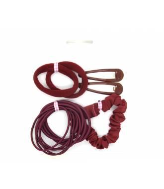 Set élastiques et barrettes rouge