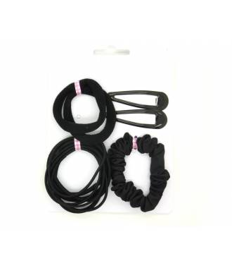 Set élastiques et barrettes noir