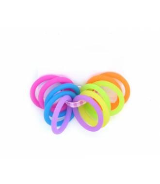 Mini-élastiques silicone x 12 multicolores