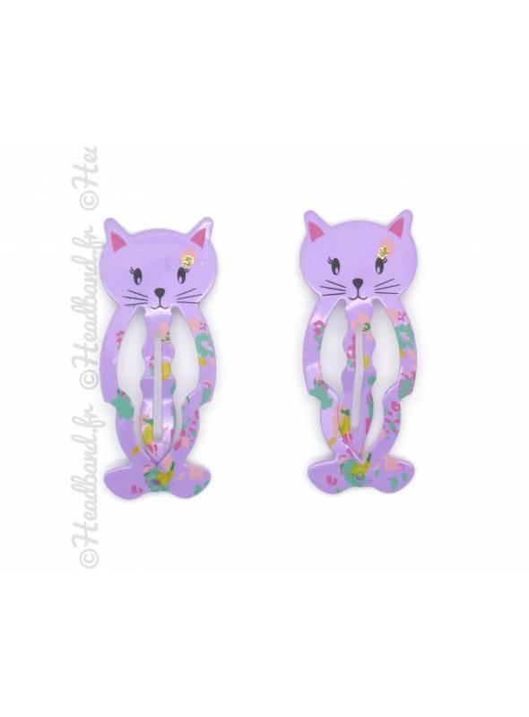 Paire barrettes chaton violet