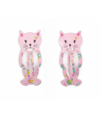 Paire barrettes chaton rose
