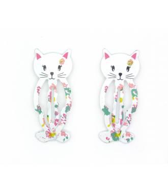 Paire barrettes chaton blanc