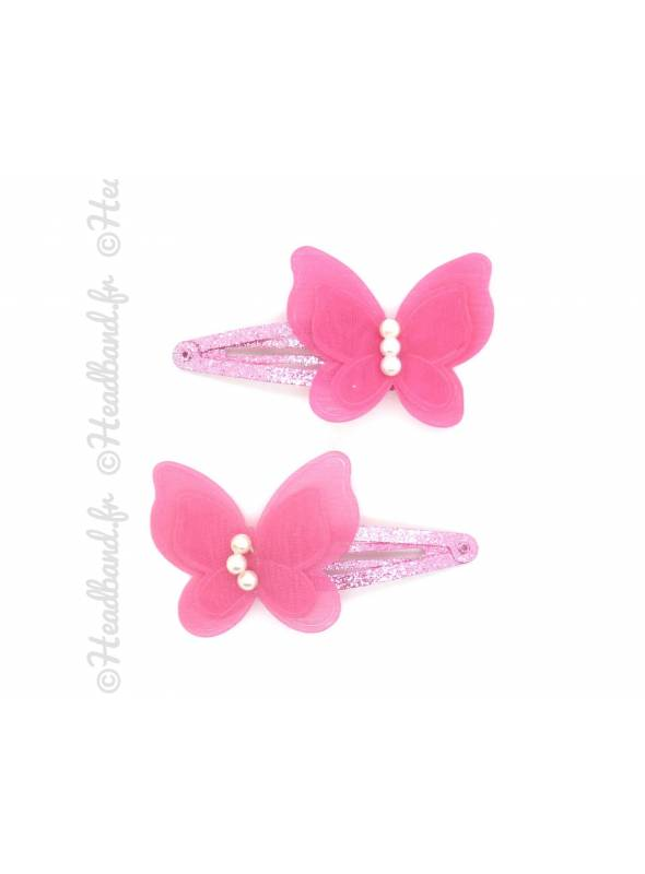Paire pinces butterfly rose