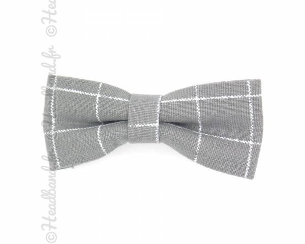 Noeud motif tartan gris