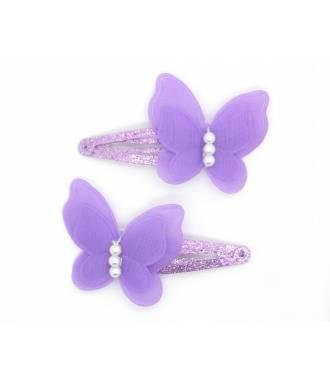 Paire pinces butterfly mauve