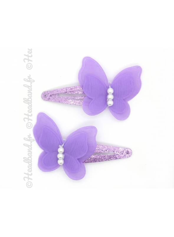 Paire pinces butterfly violet