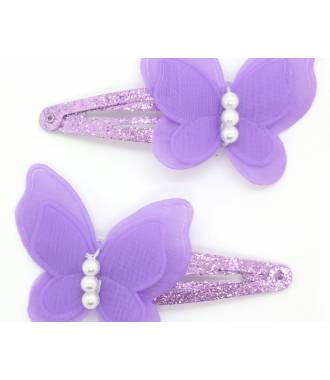 Paire pinces butterfly violet zoom
