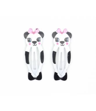 Barrettes clic-clac panda
