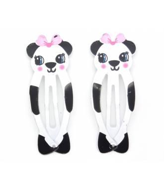 Barrettes clic-clac panda zoom