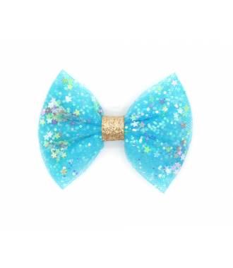 Noeud bleu glitter étoile