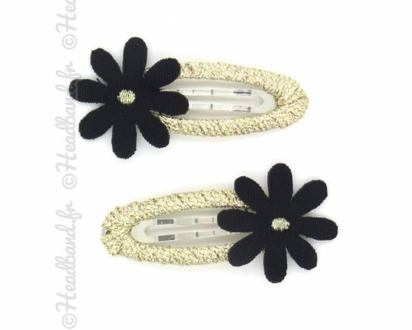 Clip flower lurex noir
