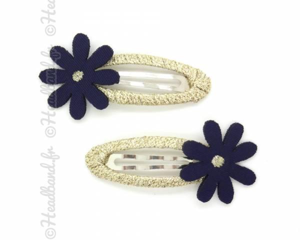 Clip flower lurex marine