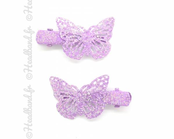 Clip féerie violet à paillettes