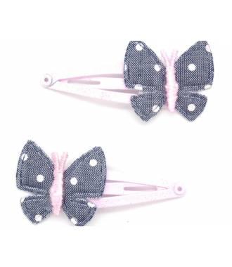 Pince butterfly tissu denim zoom