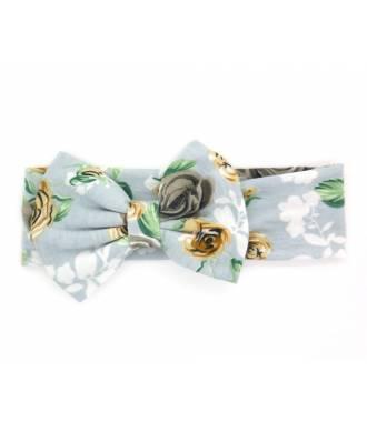 Headband large fleuri gris