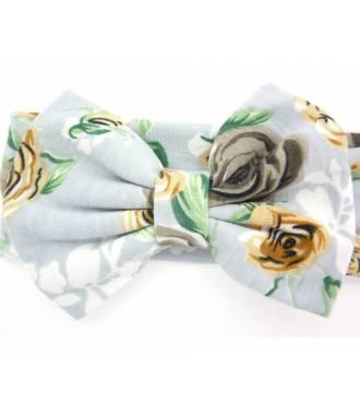 Headband large fleuri gris zoom