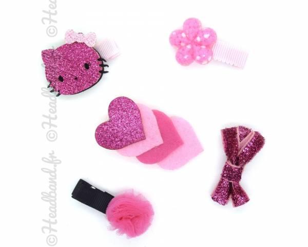 Set accessoires cheveux pompon fushia