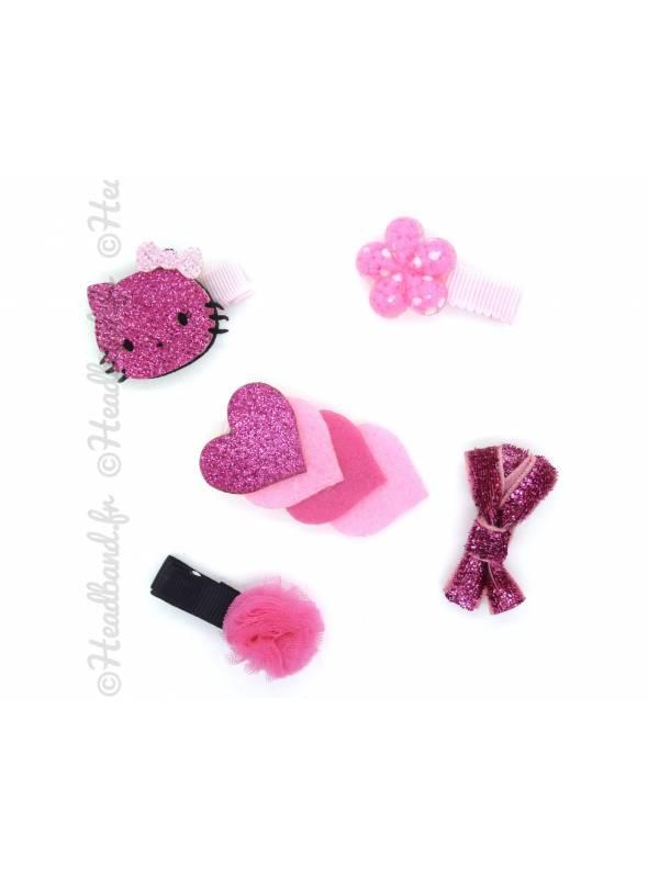 Set accessoires pompon fushia