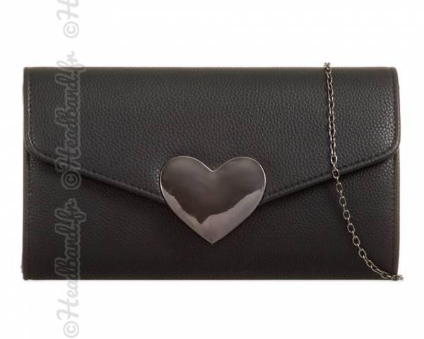 Pochette fermoir cœur noire