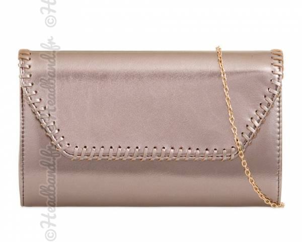 Sac couture effet maille bronze