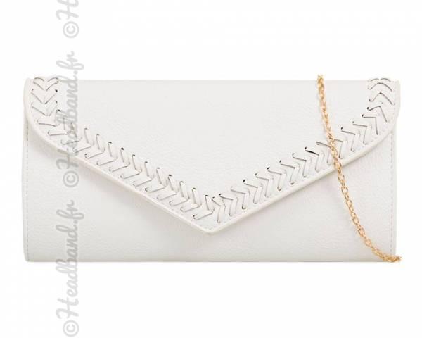 Pochette enveloppe coutures blanc