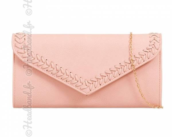 Pochette enveloppe coutures poudré